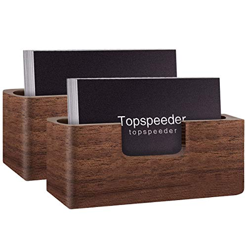 Wood Business Card Display Holder, Professional Brown Walnut Cards Case for Desk Desktop Single Compartment Wooden Name Card Stand for Tables Organizer Index Card Filing (2 Pack) ()