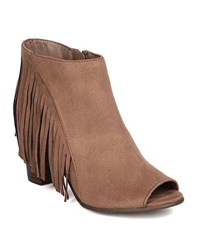 Breckelles GA13 Women Faux Suede Peep Toe Fringe Chunky Heel Bootie - Taupe