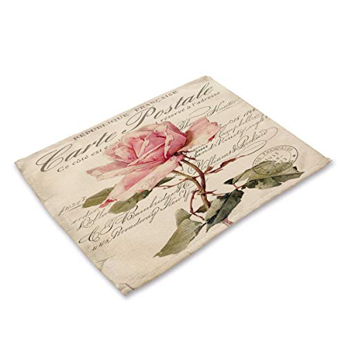 Floral Tropical Washcloth - Simple style Placemats,Plant Vintage Floral Cotton Burlap Art Insulation Anti-Slip Western Mat, E, (4 Pack) table Mats