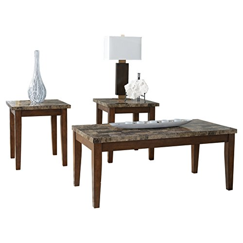 Ashley Furniture Signature Design - Theo Faux Marble Top Occasional Table Set - Contains Cocktail Table & 2 End Tables - Contemporary - Warm Brown - Rectangular Occasional Table Set