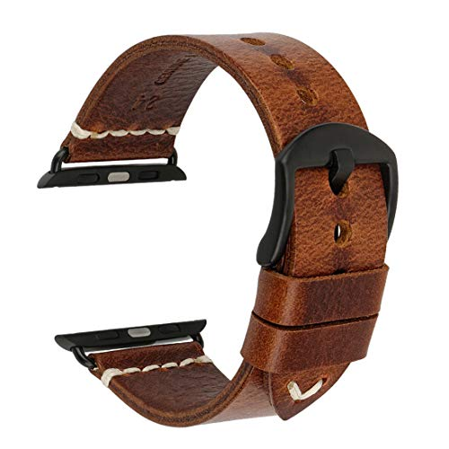 Compatible with Apple Watch Band 44mm 42mm 40mm 38mm, DITOU Genuine Vintage Oil Wax Leather Strap Compatible with Apple Watch Series 4 3 2 1 (Light Brown + Black Buckle, Band for Apple Watch 44mm) ()