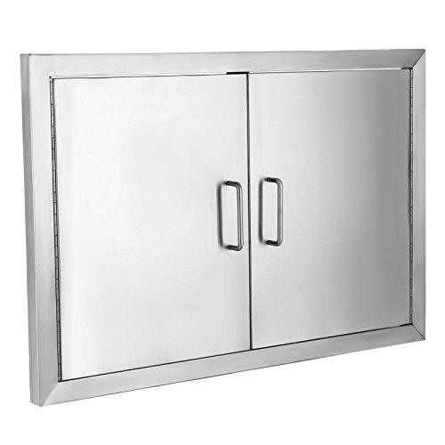 (BestEquip Double BBQ Island 304 Stainless Door Double Access BBQ Door 19x28inch Double Door Flush Mount (19X28))