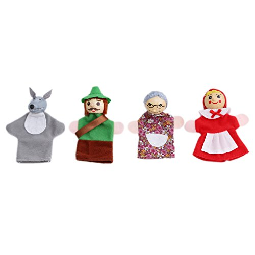 - Meolin Different Cartoon Fairy Tale Baby Educational Finger Puppets Soft Velvet Dolls Props Toys,Little Red Riding Hood,3.54-3.941.77-2.76in