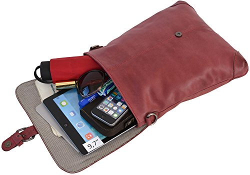 Gusti Leder studio ''Freesia'' borsa di pelle a spalla tempo libero borsa a mano rosso bordeaux 2M46-29-3