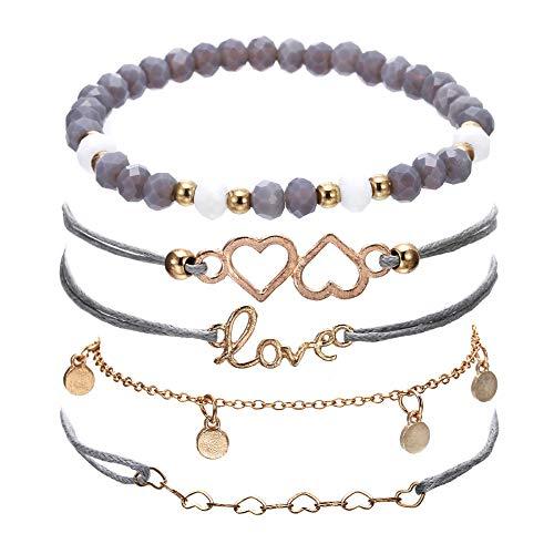 (VONRU Beaded Bracelets for Women - Adjustable Charm Pendent Stack Bracelets for Women Girl Friendship Gift Rose Quartz Bracelet Links with Pearl Gold Plated (Love & Grey Bead Bracelet))