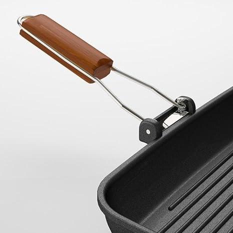 Sartén parrilla de aluminio Parrilla Antiadherente Sartén con mango plegable: Amazon.es: Hogar