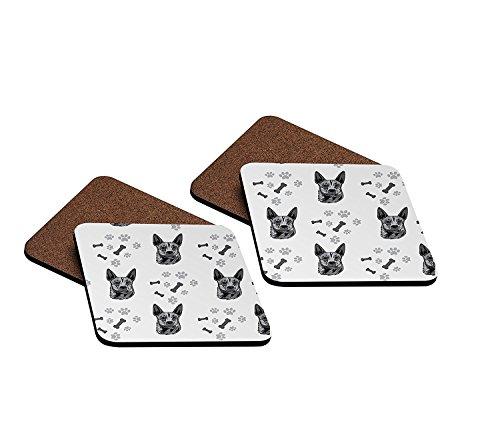 Dog Breeds Coasters (Australian Stumpy Tail Cattle Dog Breed Hardboard Coasters Set of 4 Megamagci)