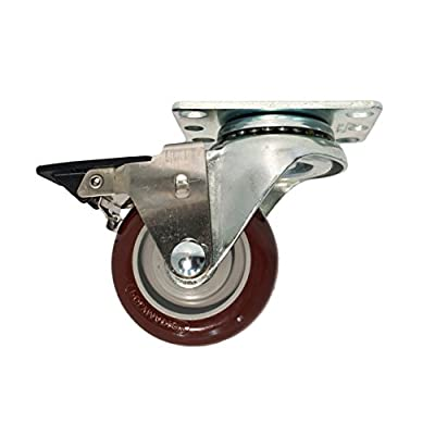 "3"" High Performance Polyurethane Wheel Swivel Caster w/ Tech-Lock Brake (300lb. Load Capacity)"