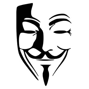 HotMeiNi Anonymous Mask Vinyl Car Stickers JDM Decal Car Body Window Bumper Guy Fawkes Graphic Decoration Black/Sliver