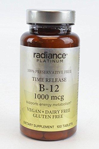 Radiance Platinum 100% Preservative Free Vitamin B-12 1000 MCG Supports Energy Metabolism VEGAN DAIRY FREE GLUTEN FREE Dietary Supplement 100 TABLETS