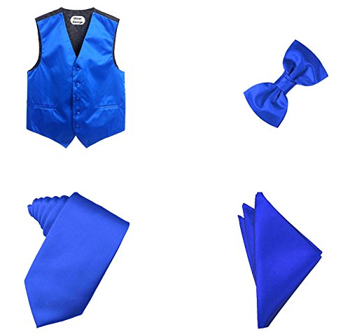 Oliver George 4pc Solid Vest Set-Royal Blue-XL
