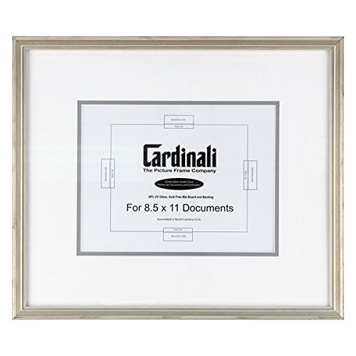 Cardinali Diploma Frame - Archival University College Graduation High School Diploma, Document, Certificate Frame Glass & Hanging Hardware - Warm Silver - 8.5''x11'' Opening, Frame Size 18''x15.5'' by Creative Mark