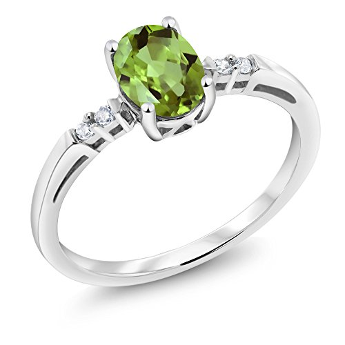 14K White Gold Green Peridot and White Diamond Women's Ring (0.83 Ct Oval Gemstone Birthstone Available in size 5, 6, 7, 8, 9) White Gold Peridot Ring