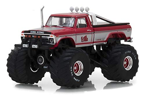1975 Ford F-250 King Kong Monster Truck Red with White Stripes Kings of Crunch Series 1/64 Diecast Model Car by Greenlight 49010 C