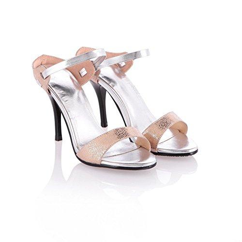 Voguezone009 Donna Open Toe Tacco A Spillo Pelle Di Pecora Morbido Materiale Solido Pantofole Albicocca