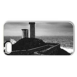 stone path to a lighthouse on a point - Case Cover for iPhone 5 and 5S (Lighthouses Series, Watercolor style, White)