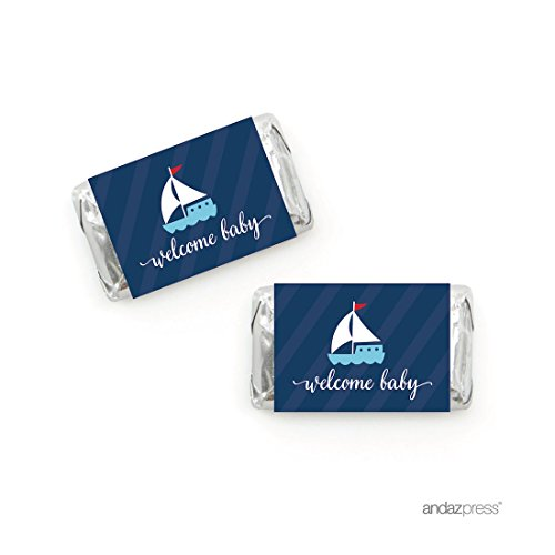 Andaz Press Nautical Baby Shower Collection, Chocolate Minis Labels, Fits Hershey's Miniatures Party Favors, 36-pack