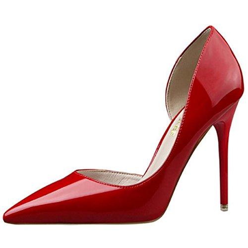 Mashiaoyi Damen Spitze-Zehe Stiletto ohne Verschluss Hohl Pumps Rot