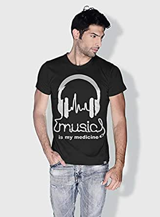 Creo Music Is My Medicine Trendy T-Shirts For Men - S, Black