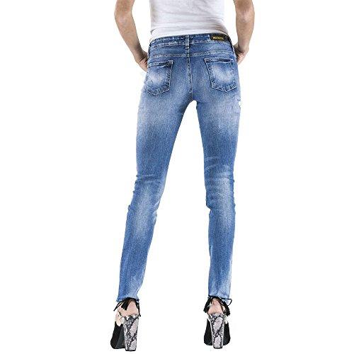 Ceñido Denim Blue Estilo Media Jeans Madoline Cintura Meltin'pot D0133 Skinny Para Mujer Ajuste up412 Ywz7Oqwx