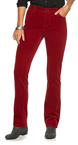Chaps Women's Fine Corduroy Slimming Fit Pants (2 Short, Heritage Red)