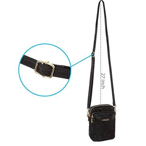 MINICAT Nylon Small Crossbody Bags RFID Blocking Cell Phone Purse For Women (Black-RFID Blocking) by MINICAT (Image #8)