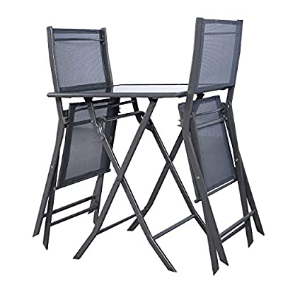 MD Group 3 pcs Bistro Outdoor Folding Furniture Set