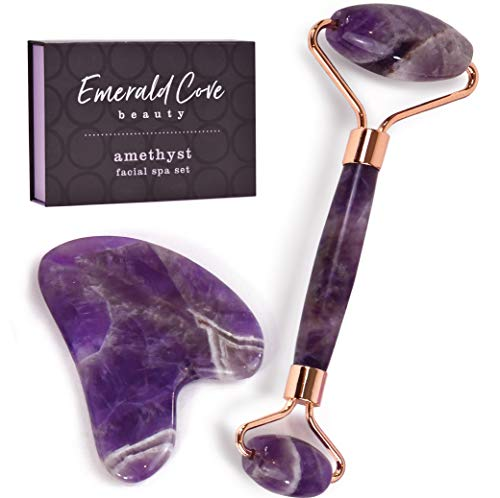 Jade Roller for Face – Amethyst Derma Roller and Gua Sha Set for Skincare, Face Roller and Dark Circles Under Eye Treatment