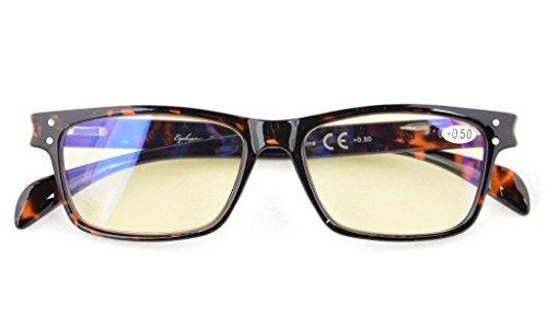 Blue Light Filter Computer Glasses-Yellow Tinted Reading Eyeglasses Men Women(Tortoise) ()