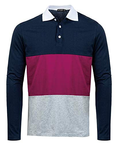 Sleeve Long Cotton Rugby - Musen Men Long Sleeve Polo Shirts Casual Cotton Modern Fit Color Block Rugby Polo Tshirts Black-Plum-Grey L