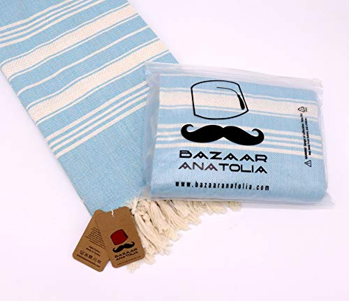 """Bazaar Anatolia Stripe Turkish Towel 100% Cotton Peshtemal Bath Towel 75x38 Thin Lightweight Travel Camping Bath Sauna Beach Gym Pool Blanket Fouta Quick Dry Towels (Turquoise) - HIGH QUALITY: Bazaar Anatolia Turkish towels are made in Turkey with high quality cotton. Quick dry towel absorbs water quite fast and dries very quickly without mildewy smell. Becomes softer and absorbent after several washes. MATERIAL and SIZE: 75x38"""" (190x98cm) 13 oz (370 Grams) Natural-dyed, pure 100% cotton, no harmful substances or chemicals, eco-friendly. Turkish beach towel is easy to carry, large and takes up less space. MULTI-PURPOSE: You can use as beach towel, bath towel, pool towel, bath towel, scarf, shawl or blanket. Also Turkish towels can be a unique idea for bridesmaid gifts, bachelorette party favors and wedding favors. You can use the pehstemal towel as a scarf on the outside, as a shawl on the terminal, as a travel blanket on an airplane, and as beach towels or turkish beach blanket when you get off the plane and go to the beach. - bathroom-linens, bathroom, bath-towels - 41jHks0y26L -"""