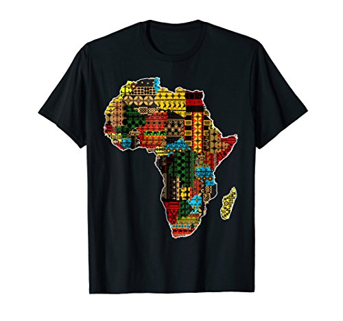 African pride traditional ethnic pattern Africa map t-shirt (Africa Map T-shirt)
