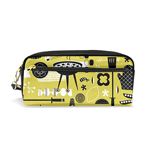 Backyard Barbecue Barkcloth - Mustard_29824 Cosmetic Bags Portable Travel Makeup Organizer Multifunction Case Bags for ()