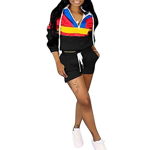 2 Piece Outfits for Women Long Sleeve Color Block Hooded Crop Top and Shorts Sportsuit Set ()