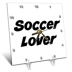 3dRose Gabriella-Quote - Image of Soccer Lover Quote - 6x6 Desk Clock (dc_319507_1)