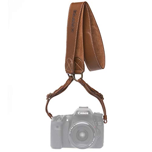 Inspire in Time Camera Neck Strap - Genuine Leather Adjustable Straps Universal Interfaces Mirrorless DSLR Cameras, Nikon, Canon, Sony, Olympus, Panasonic, Fuji & More