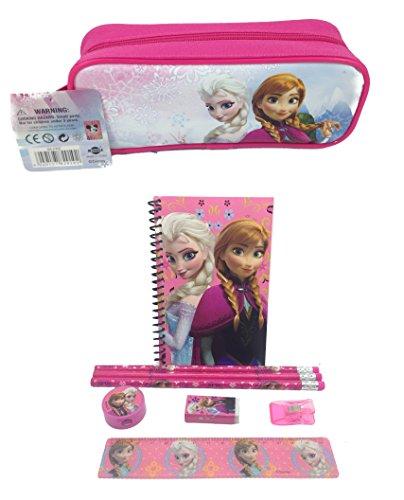 (Brand New Disney Frozen Queen Elsa, Princess Anna & Olaf Stationary Set + Pencil Pouch Combo Pink)