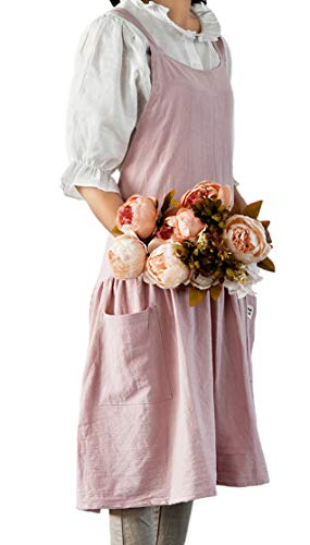 Aifele Women Kitchen Cooking Apron with 2 Front Pockets Cotton and Linen Flower Arrangement Plain Color Garden Work Pinafore Dress (Pink, 82cmx78cm)