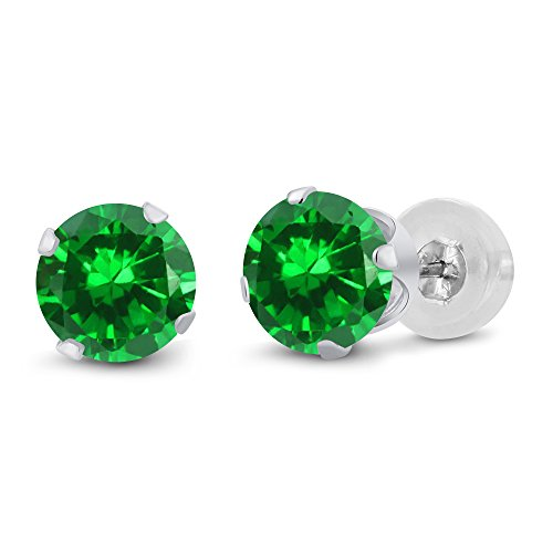 Gem Stone King 3.00 Ct Round 6mm Green Simulated Emerald 14K White Gold Stud ()