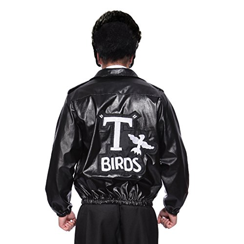 [Anladia Men's Grease Leather Look Tbird Jacket With Embroide Logo Danny T Bird Standard UK 38 40] (T-birds Costume Jacket)