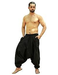 Sarjana Handicrafts Men's Cotton Solid Harem Pants Yoga Trousers Hippie