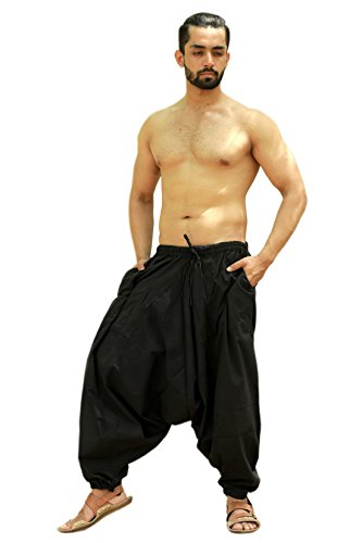Sarjana Handicrafts Men's Cotton Solid Harem Pants Yoga Trousers Hippie (Black, Free Size) - Solid Baggy Pant