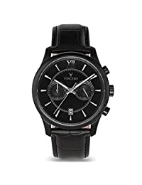 Vincero Luxury Men's Bellwether Wrist Watch — Matte Black with Black Leather Watch Band — 43mm Chronograph Watch — Japanese Quartz Movement