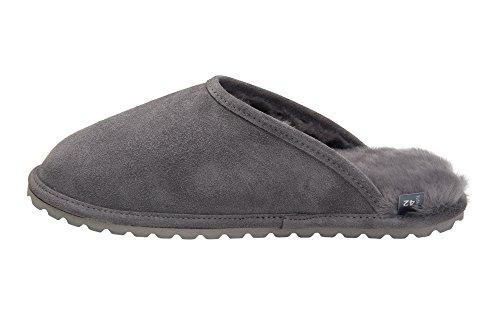Rusnak Mens Sheepskin Leather Slippers House Shoes Warm Wool Lining M68P Grey P8dwDPky8