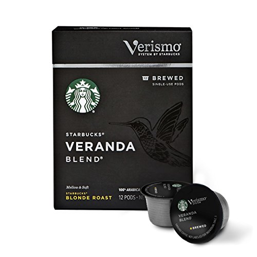 Starbucks Verismo Veranda Blend Brewed Coffee Single Serve Verismo Pods, Blonde Roast, 6 boxes of 12 (72 total Verismo pods)