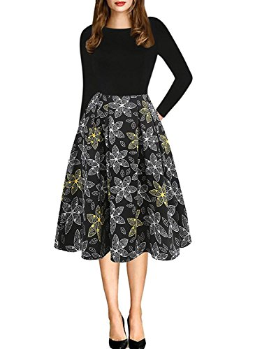 Uniboutique Women's Casual Patchwork Pocket Puffy Swing Vintage Dress Black L -