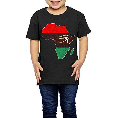 DSEPAA Horus Eye In Pan African Colored Africa Map Boys' Girls' Cotton Short Sleeve T-Shirt 4 Toddler by DSEPAA