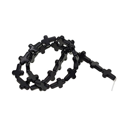 Black Strand Cross - MagiDeal 1 Strand Howlite Turquoise Loose Cross Spacer Beads Bracelets Jewelry Making - Black