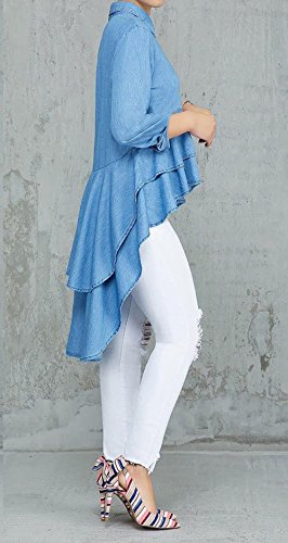 Chemises Blouse Chemisiers Femmes Shirt Tops et Printemps Onlyoustyle Manches Automne Irrgulier Denim Longues Hauts Revers Jean Un Mode Bleu Casual B6axgIwq
