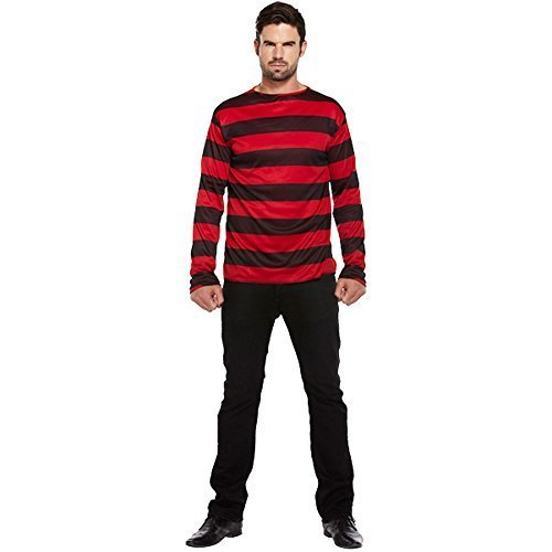 [Blue Banana Men's Striped Jumper Fancy Dres Costume One Size Fits All Black/Red] (Banana Deluxe Adult Costumes)
